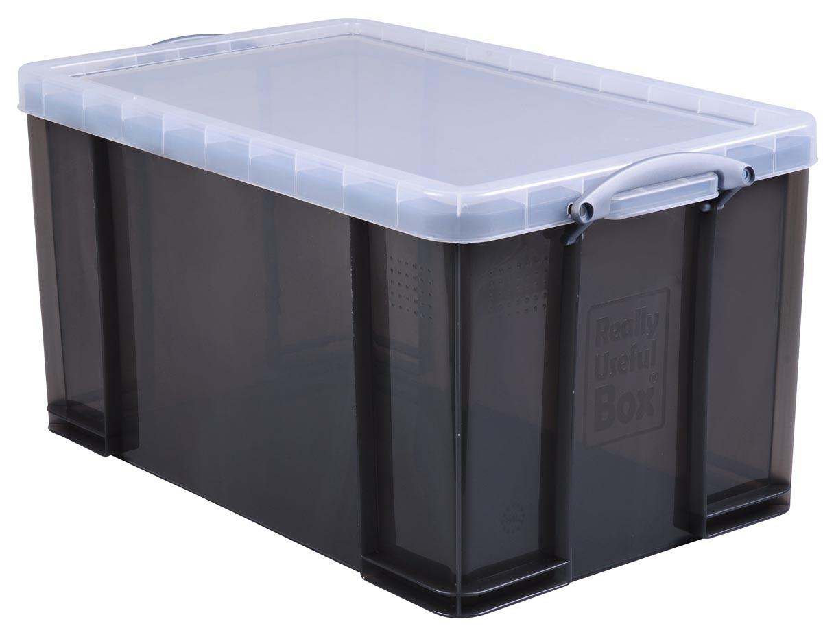 Really Useful Box opbergdoos 84 liter, transparant gerookt