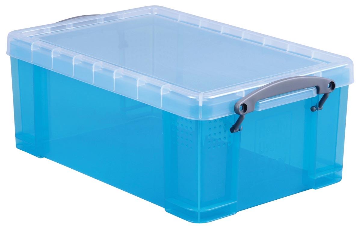 Really Useful Box opbergdoos 9 liter, transparant helblauw
