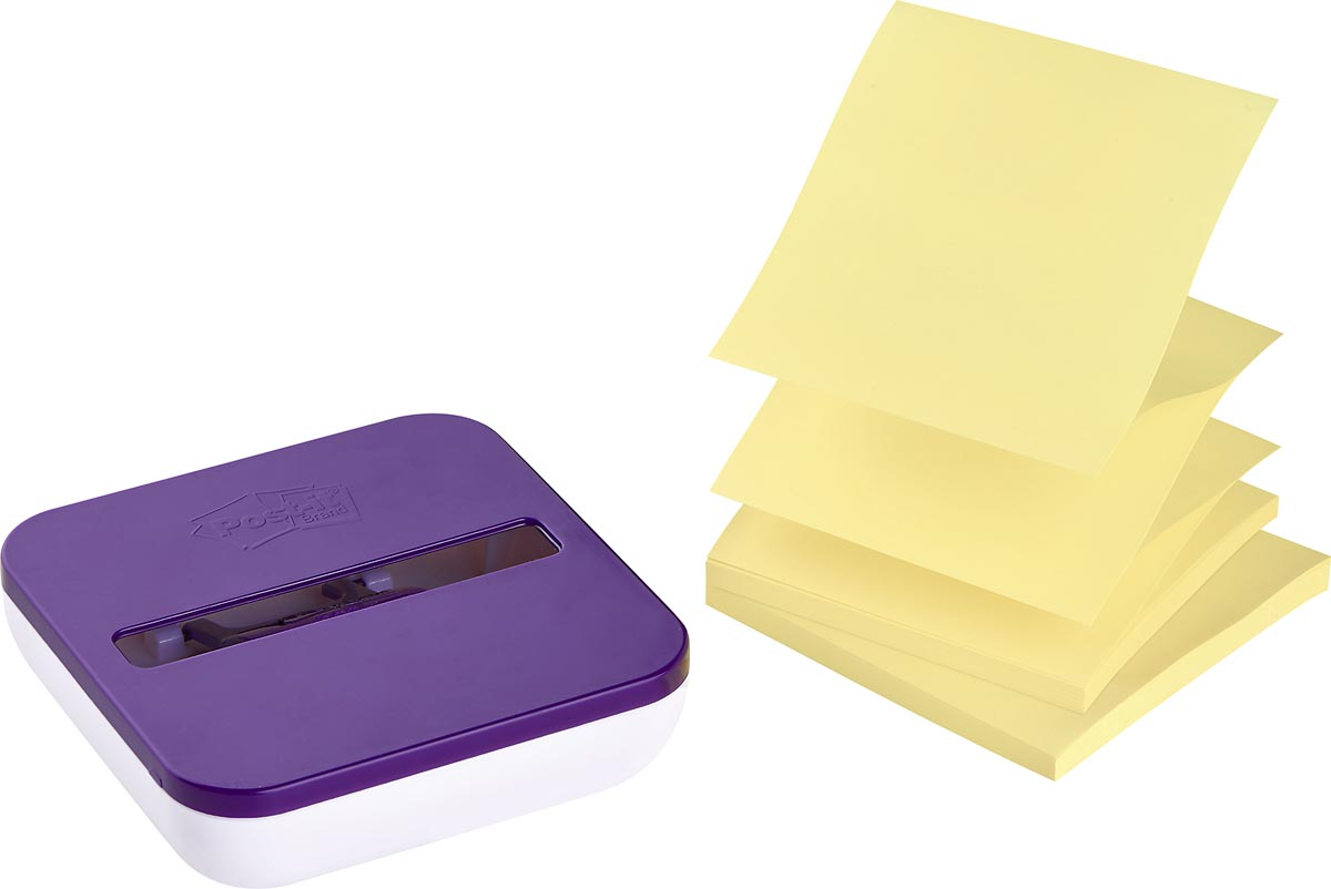 Super Sticky Z-Notes value pack: pak van 2 blokken, geel, inclusief dispenser
