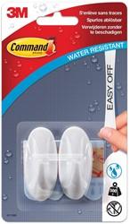 Command decohaak, small, draagvermogen 500 gram, wit, waterbestendig, blister van 2 stuks