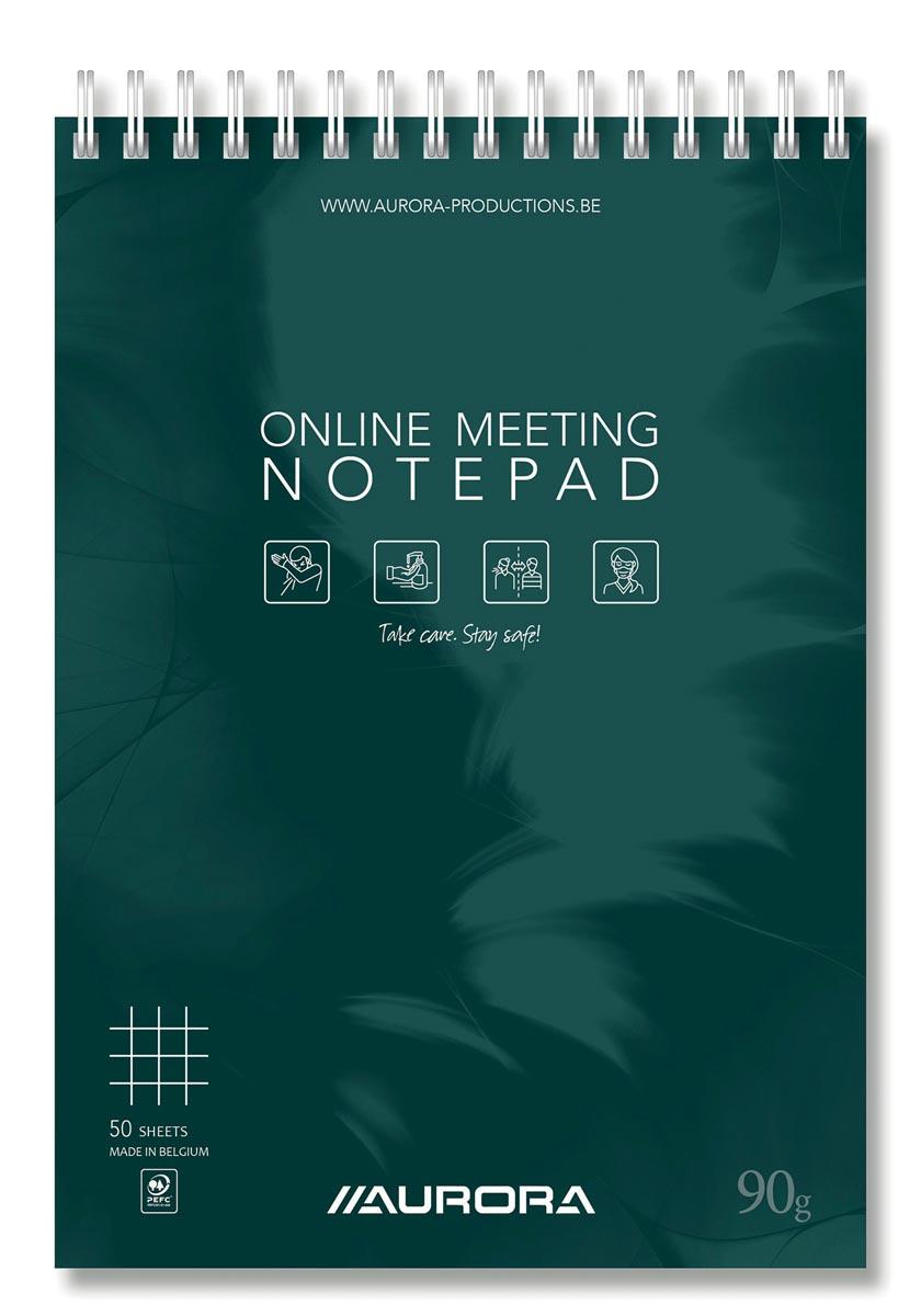 Aurora Mano Online Meeting Notepad, ft A5, geruit 5 mm, 50 vel (100 bladzijden)