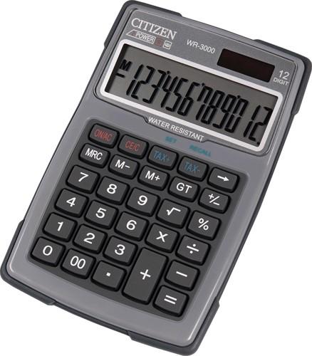 Citizen robuuste rekenmachine WR3000, water- en stofbestendig, grijs