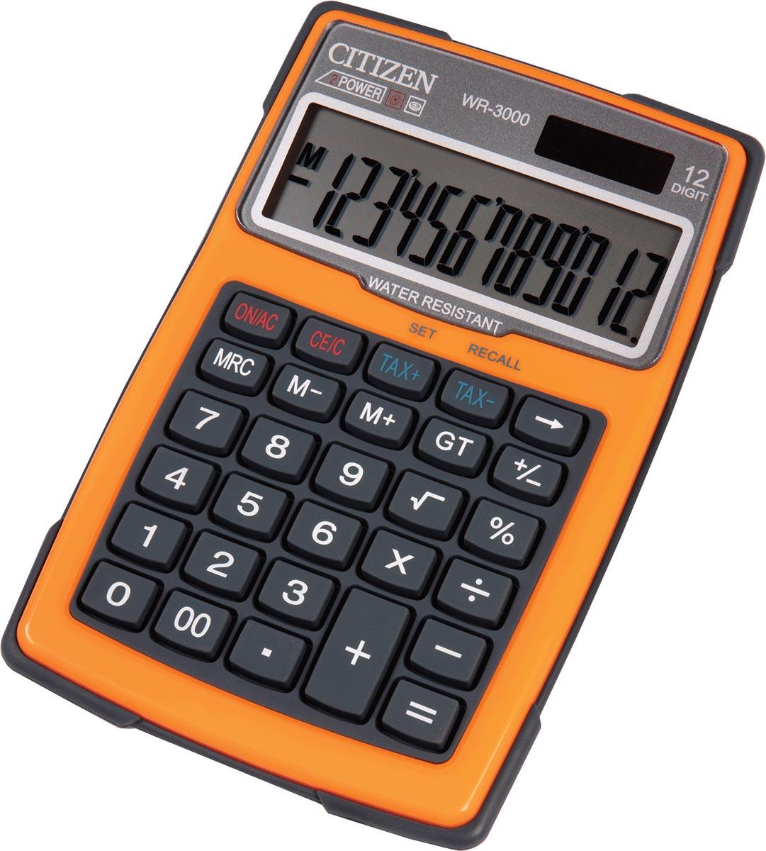 Citizen robuuste rekenmachine WR3000, water- en stofbestendig, oranje