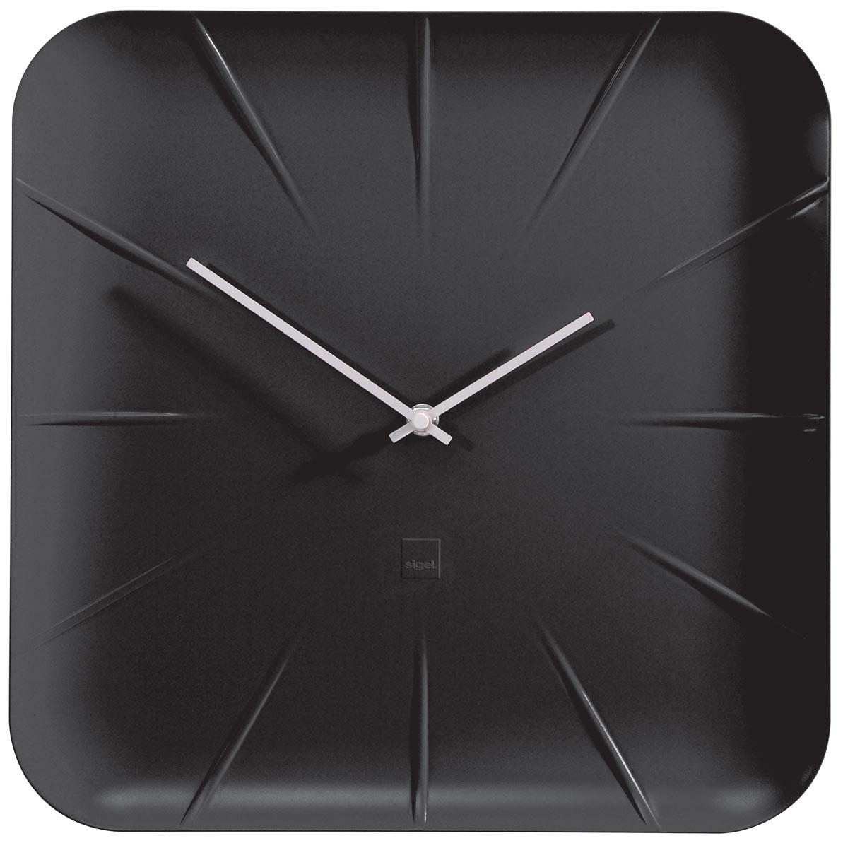 Sigel wandklok Inu, ft 35 x 35 x 4,5 cm, zwart